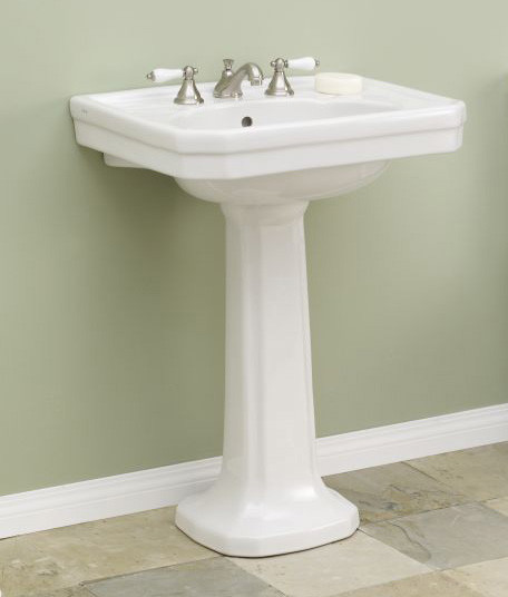 """Cheviot 511-25-WH-8 Large Mayfair White Pedestal Sink 8"""" Faucet Drilling"""