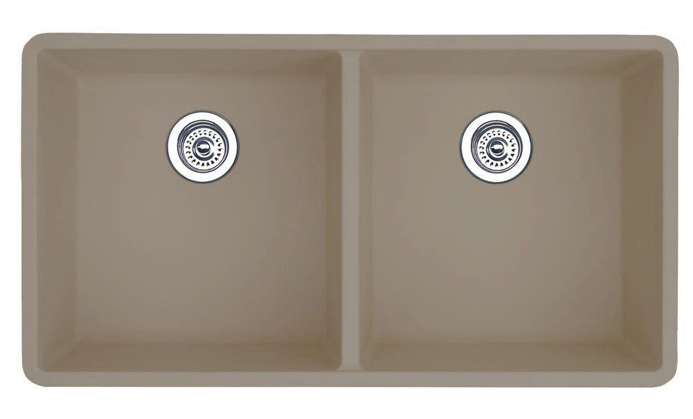 Blanco 517678 Precis 16 Inch Equal Double Bowl Undermount Kitchen Sink in Truffle
