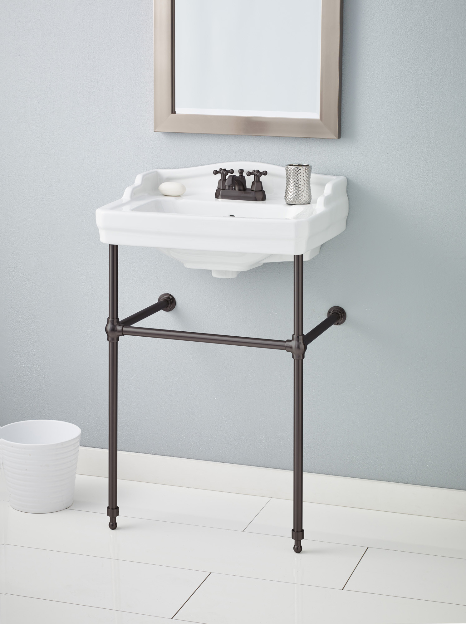 Cheviot 553-WH-1-575-AB Essex Antique Bronze Console Stand Lavatory Sink in White