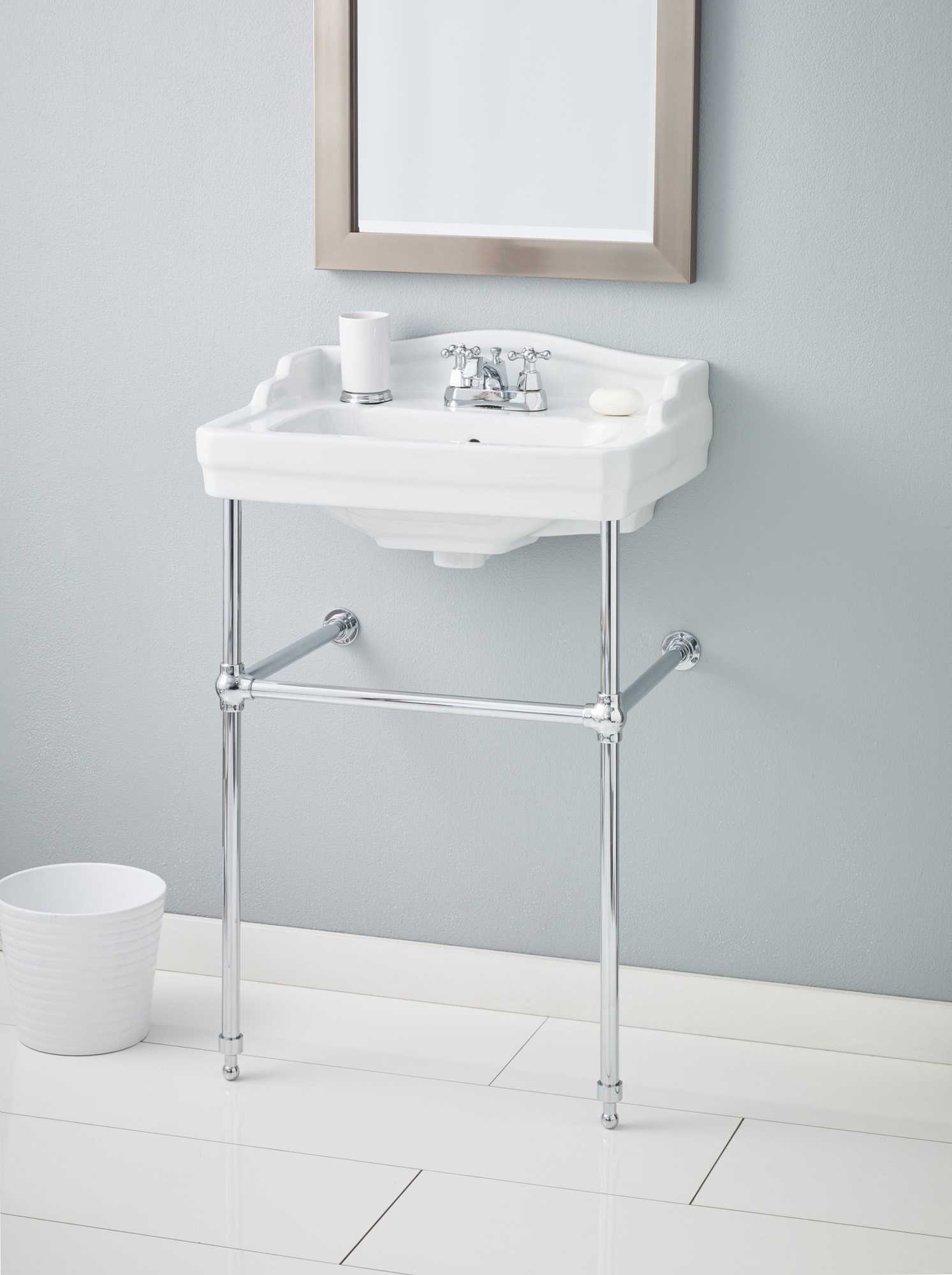 Cheviot 553-WH-4-575-CH Essex 4 Inch Drilling Lavatory Sink in White with Chrome Console