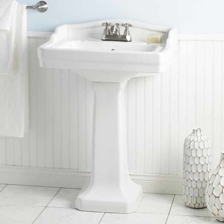 """Cheviot 553-WH-4 Essex Vitreous China Pedestal Sink 4"""" Faucet Drilling"""