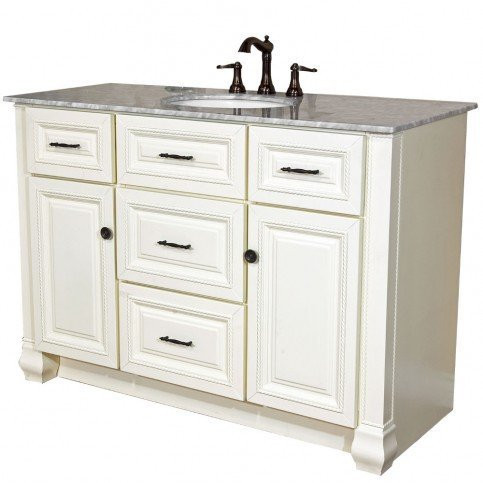 Bellaterra Home 605022 Cream white 50 Inch Single Vanity with cararra Top