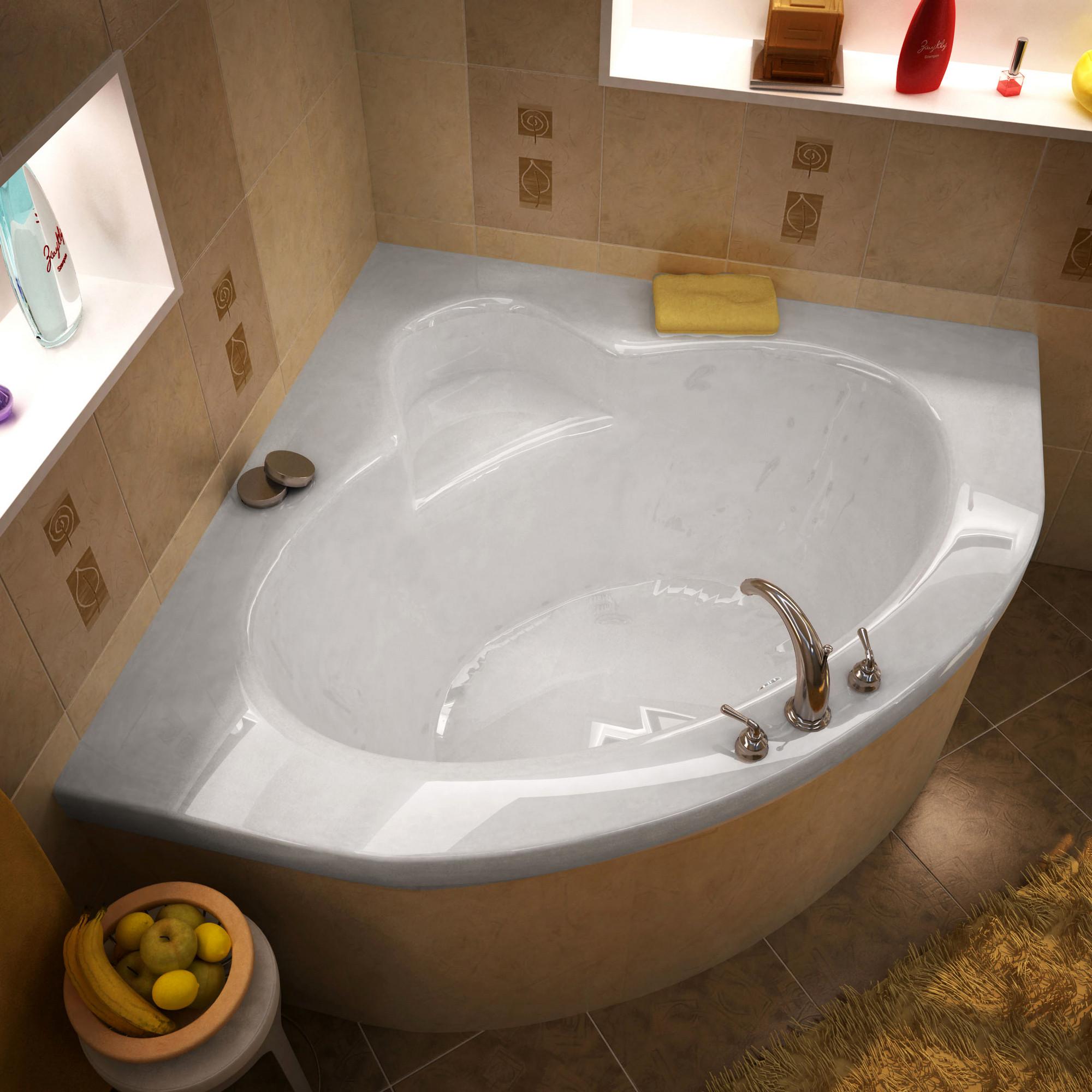 MediTub 6060A Atlantis Alexandria Corner Triangular Acrylic Soaking Bathtub