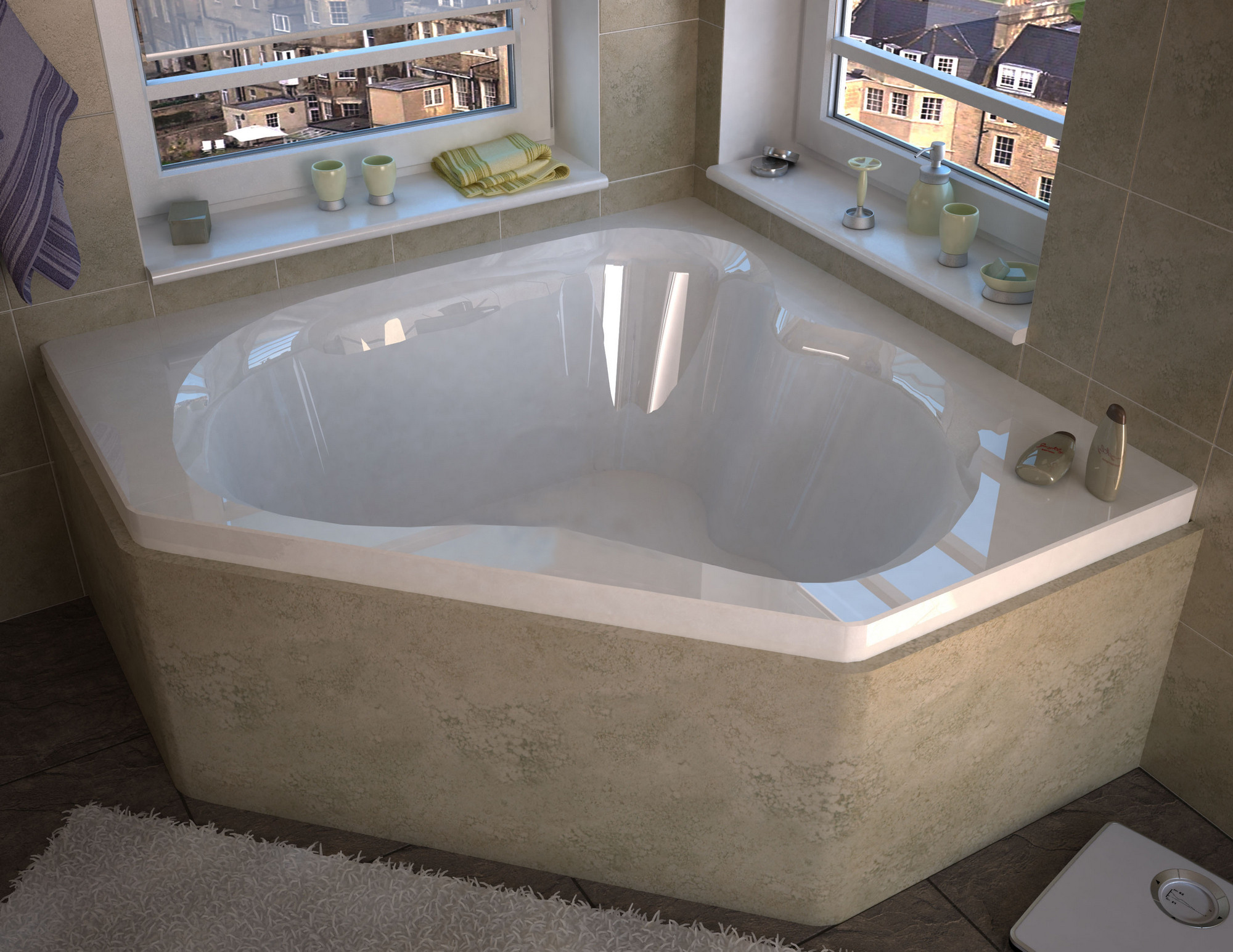 Meditub 6060C Atlantis Cascade Corner Soaking Bathtub In Glossy White