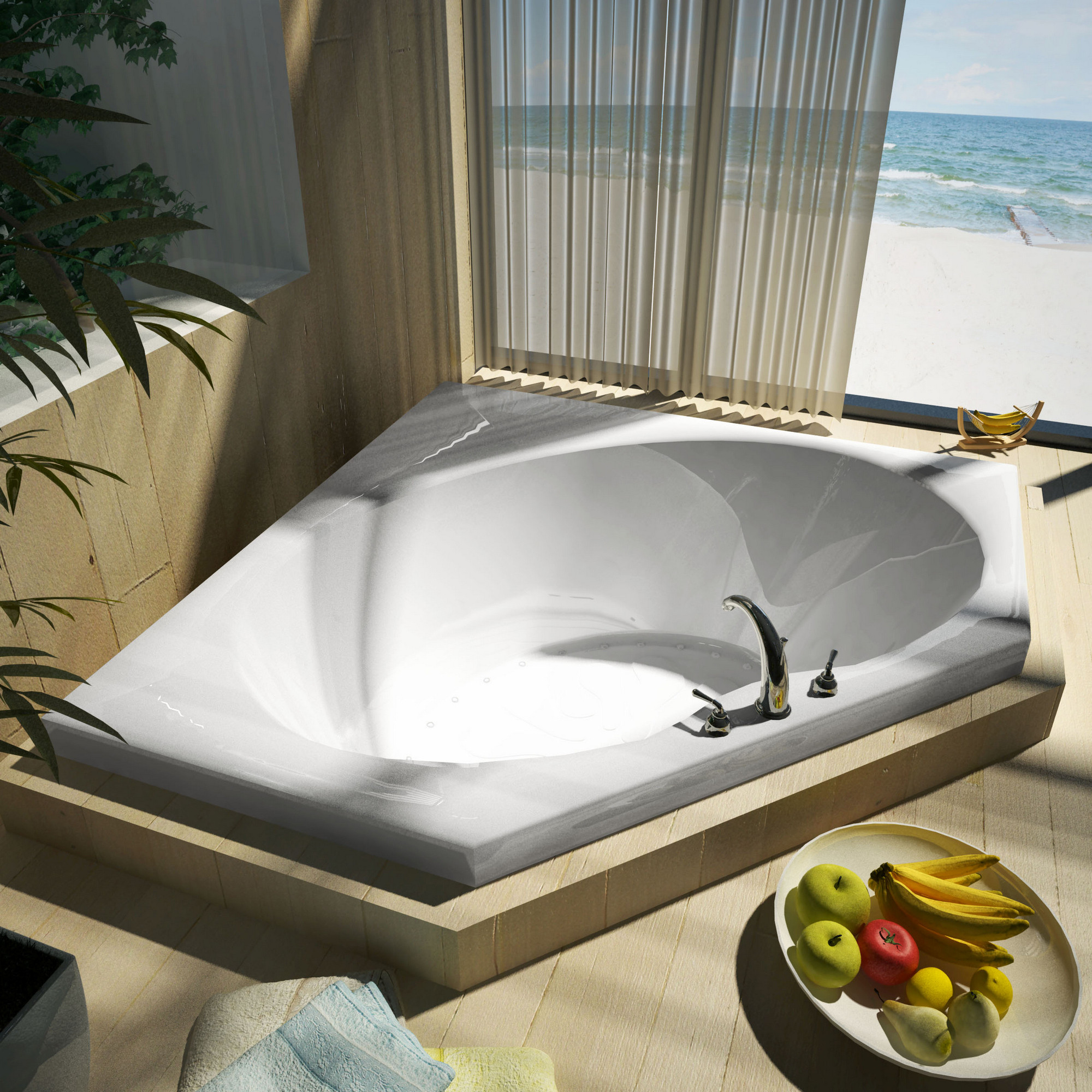 MediTub 6060EAL Atlantis Eclipse Air Jetted Bathtub With Left Blower