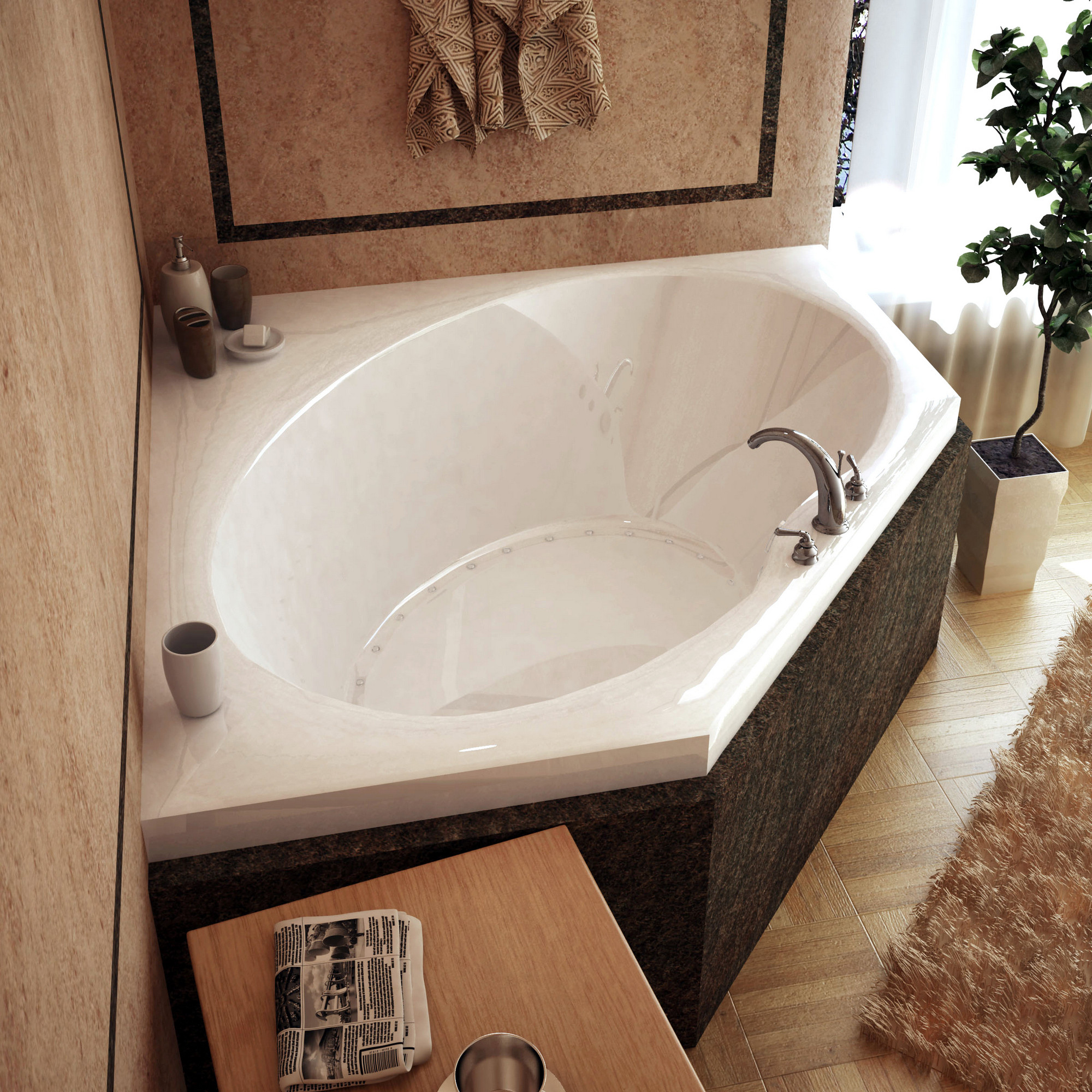 MediTub 6060VAL Atlantis Venus Corner Air Jetted Bathtub With Left Blower