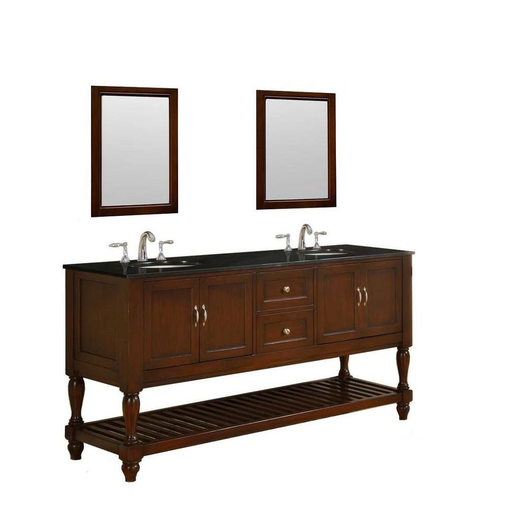 """Direct Vanity Sink 6070D10-ESBK Mission Turnleg 70"""" Dark Brown Vanity With Black Granite Top"""