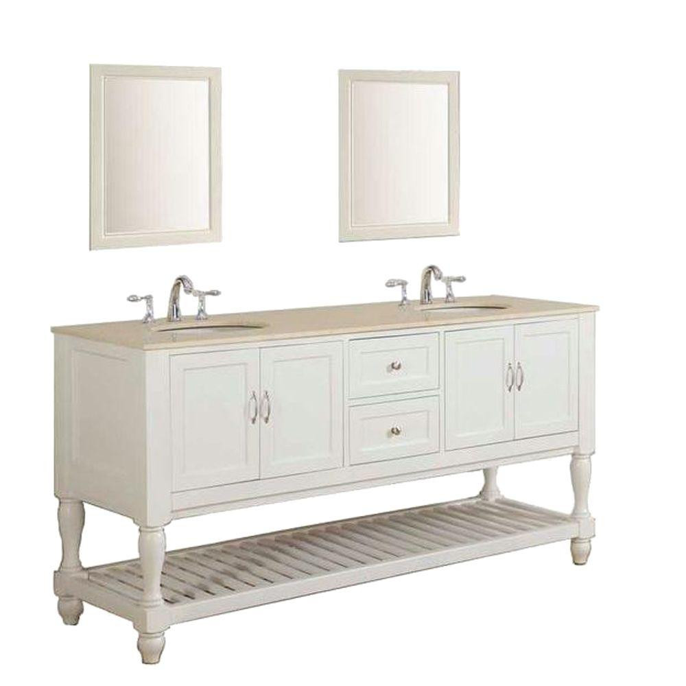 """Direct Vanity Sink 6070D10-WB-DVS Mission Turnleg 70"""" White Double Vanity With Mirrors"""
