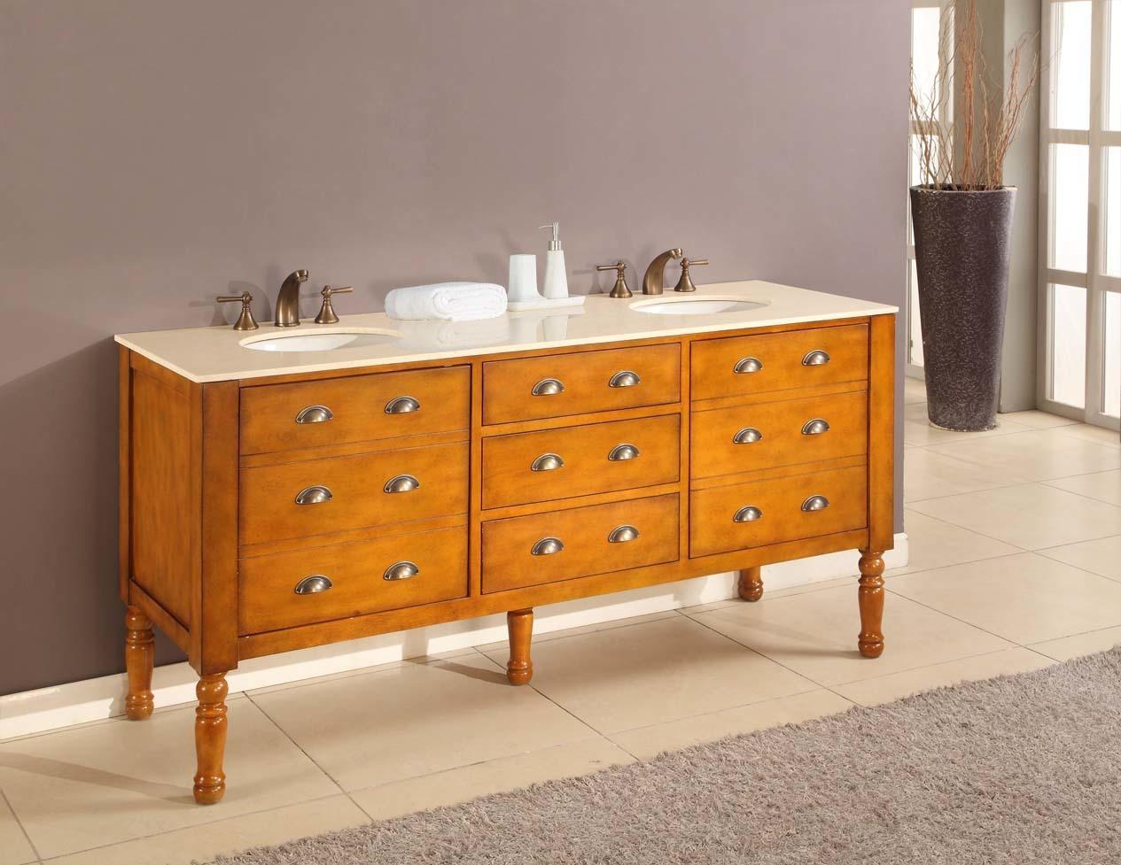 """Direct Vanity Sink 6070D11-H Harvest 70"""" Oak Finish Vanity"""