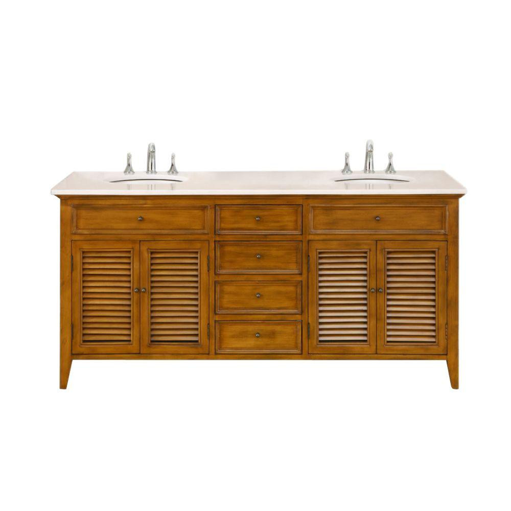 "Direct Vanity Sink 6070D12-OW Shutter 70"" Vanity In Oak Finish And White Marble Top"
