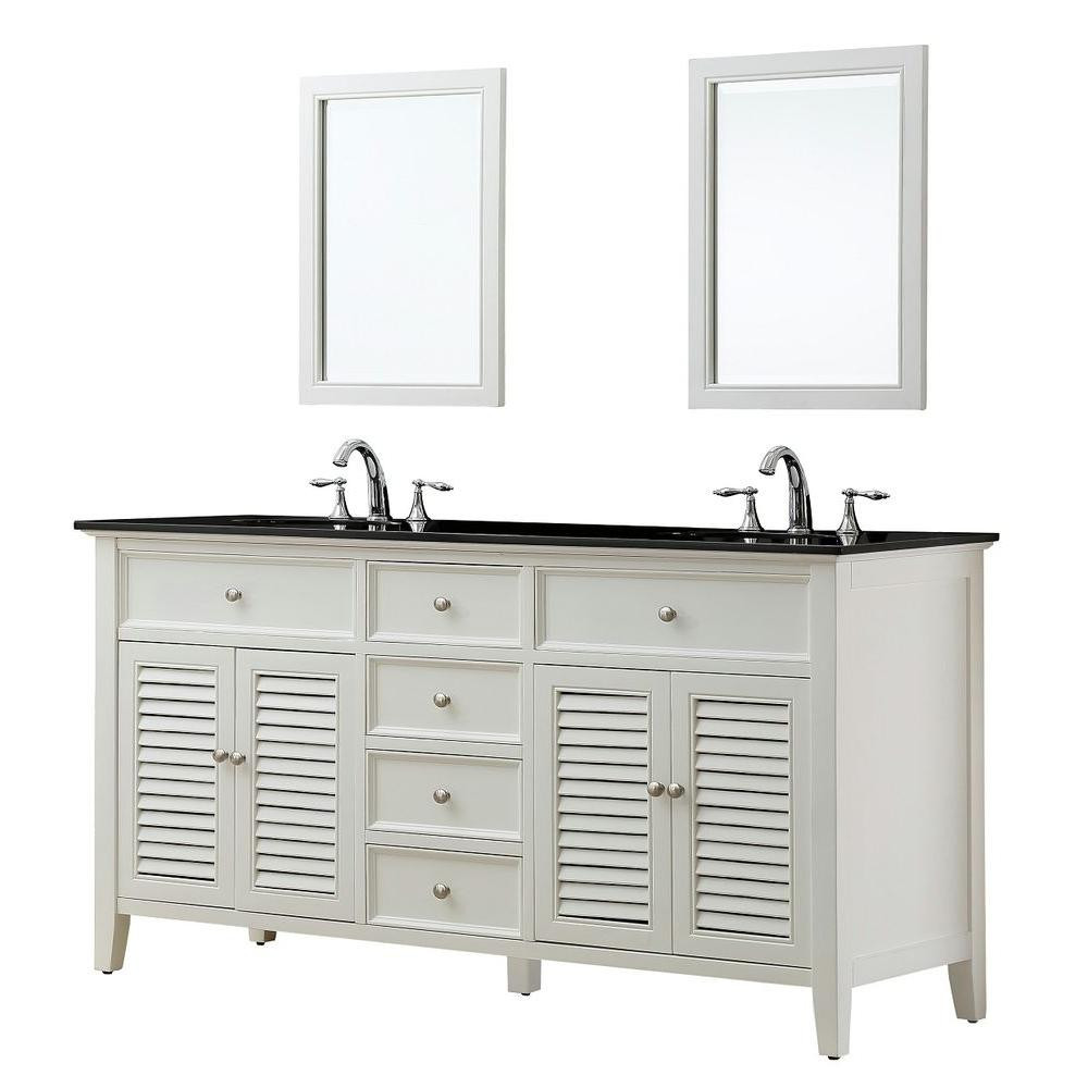 "Direct Vanity Sink 6070D12-WBK-2M Shutter 70"" White Vanity With Black Granite Top And Mirrors"