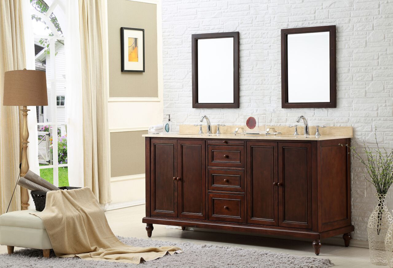 "Direct Vanity Sink 6070D9-ESW-2M Classic 70"" Dark Brown Vanity With Beige Marble Vanity And Mirrors"