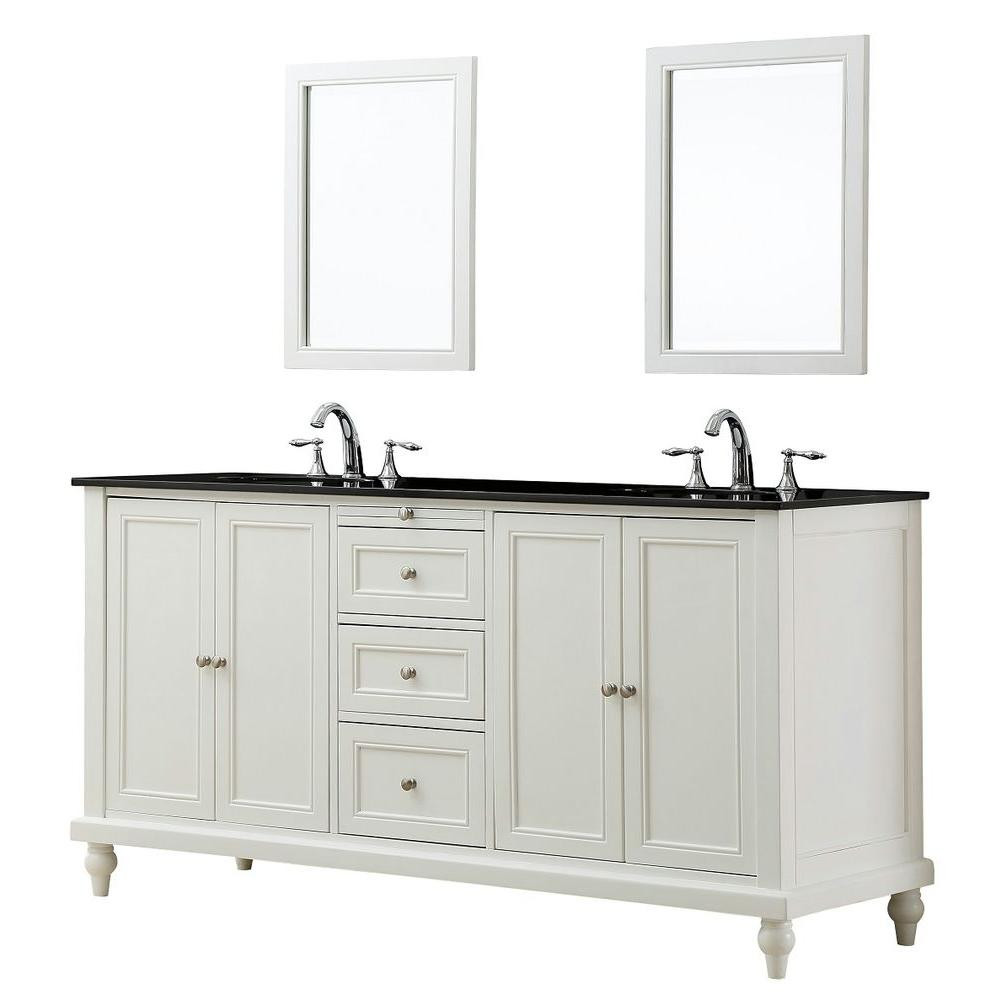 """Direct Vanity Sink 6070D9-WBK-2M Classic 70"""" Vanity In Pearl White With Granite Top And Mirrors"""