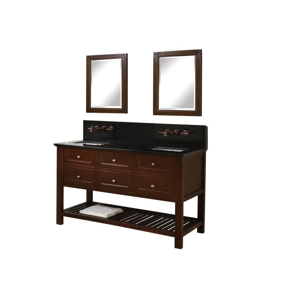 """Direct Vanity Sink 60D6-Es-WM-M Mission Spa Premium 60"""" Dark Brown Vanity With Mirrors"""