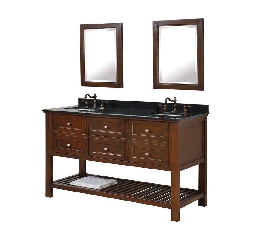"Direct Vanity Sink 60D6-EsBk 60"" Espresso Double Vanity with Black Granite"