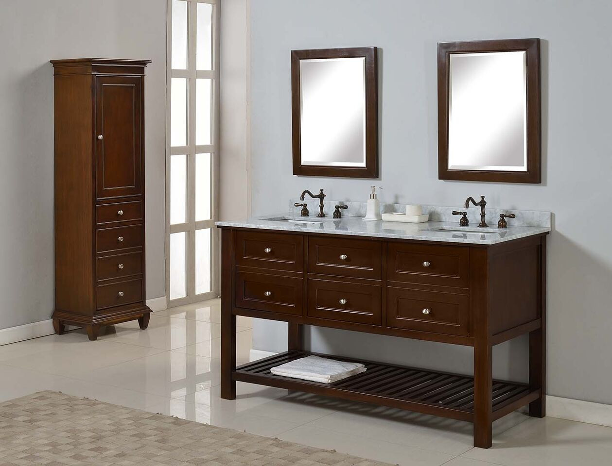 """Direct Vanity Sink 60D6-ESWC-2M Mission Spa Double Vanity Brown 60"""" With Carrera Marble And Mirrors"""