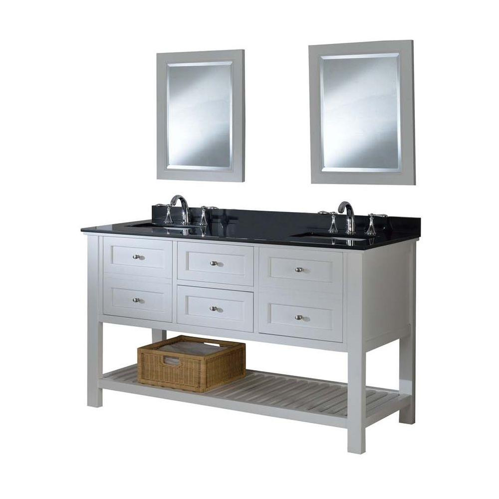 "Direct Vanity Sink 60D6-W-2M Mission Spa 60"" Pearl White Double Vanity With Mirrors"