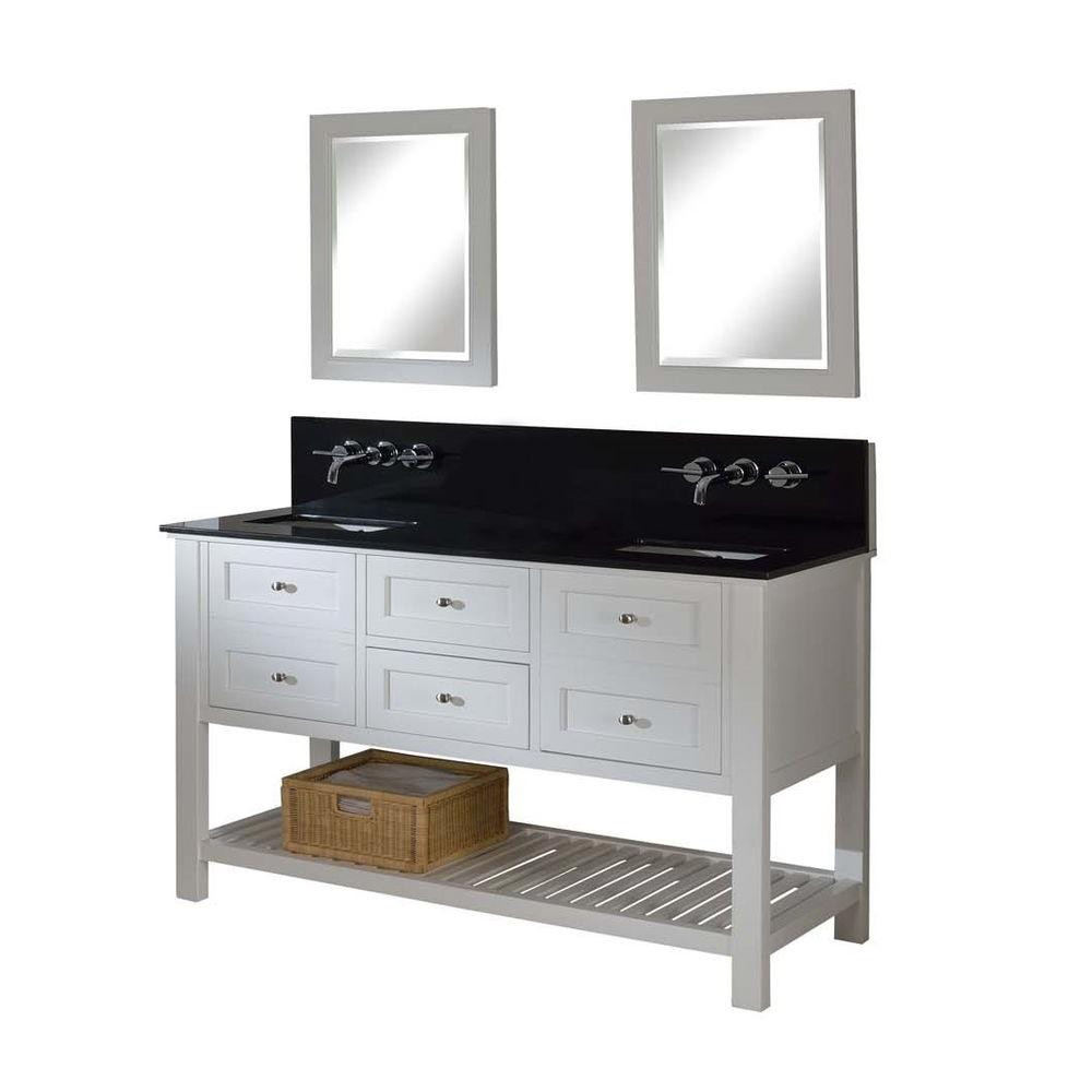 "Direct Vanity Sink 60D6-W-WM-2M Mission Spa Premium 60"" Vanity In White With Mirrors"