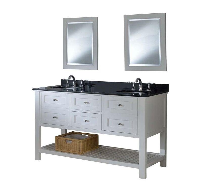 "Direct Vanity Sink 60D6-WBk 60"" Double Bath Vanity Sink with Black Granite"