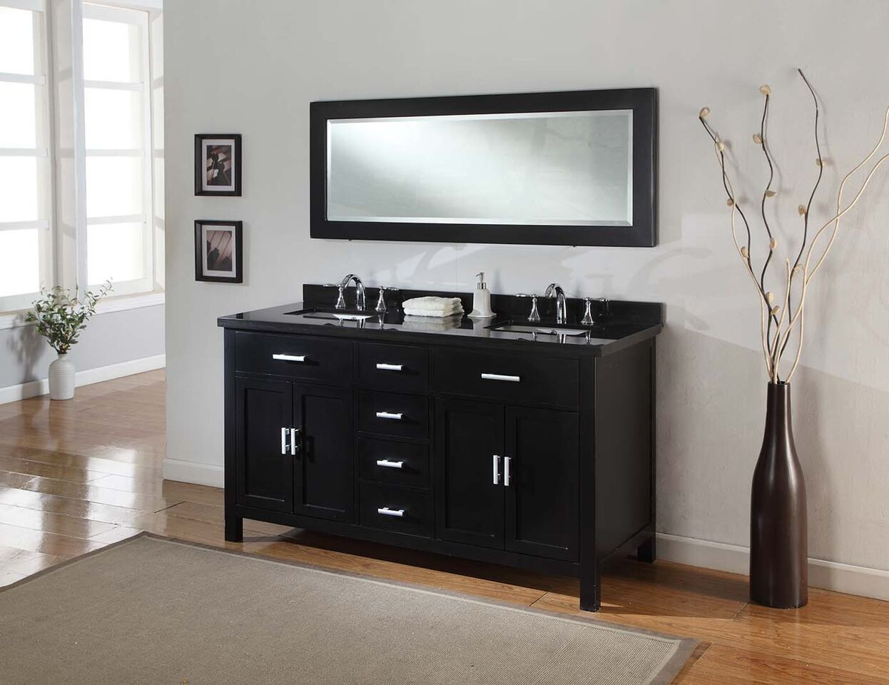 "Direct Vanity Sink 63D7-E-NOWM-LM Sutton Spa 63"" Ebony Vanity"