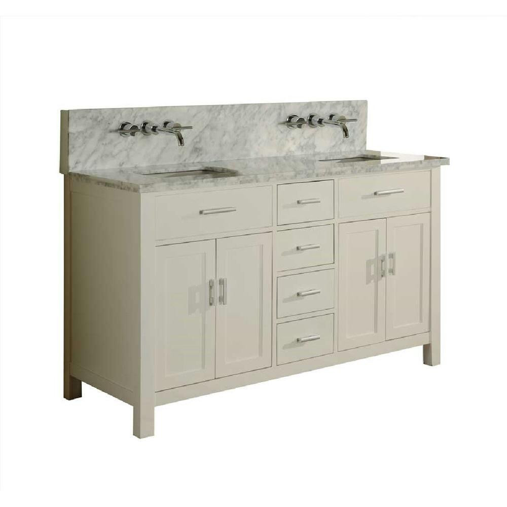 "Direct Vanity Sink 63D7-WWC-LM Sutton Spa Premium Double 63"" Pearl White Vanity Carrara White Top"