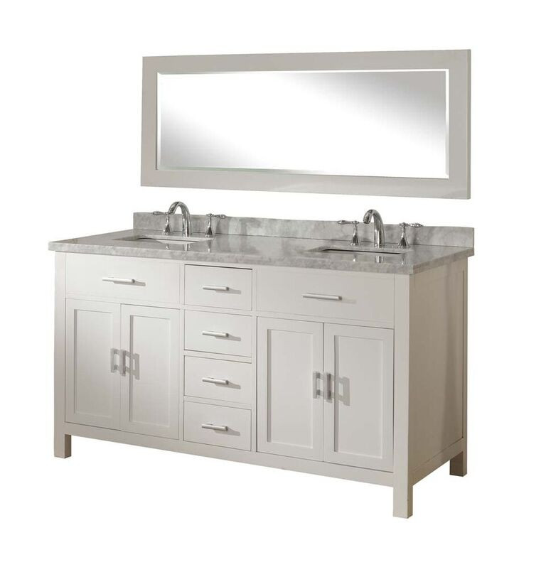 "Direct Vanity Sink 63D7-WWC-NoWM 63"" Wood Vanity with white Carrera marble"