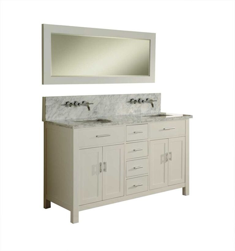Direct Vanity 63D7-WWC Sutton Double Bathroom Vanity Sink Console, White Finish With Carrera White Marble