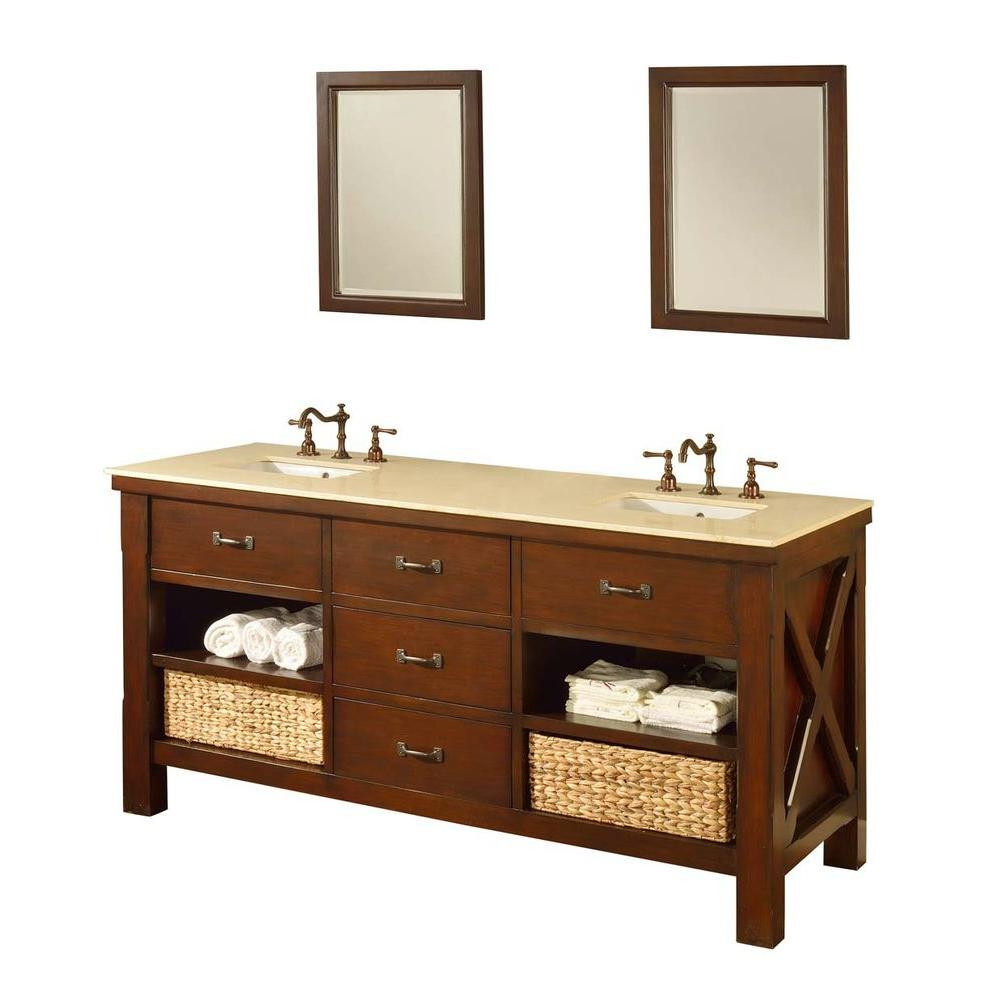"Direct Vanity Sink 70D1-ESB-2M Xtraordinary Spa 70"" Dark Brown Vanity With Beige Marble And Mirrors"