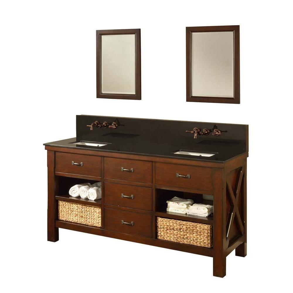 """Direct Vanity Sink 70D1-ESBK-Wm-2M Premium 70"""" Dark Brown Vanity With Black Granite Top And Mirror"""