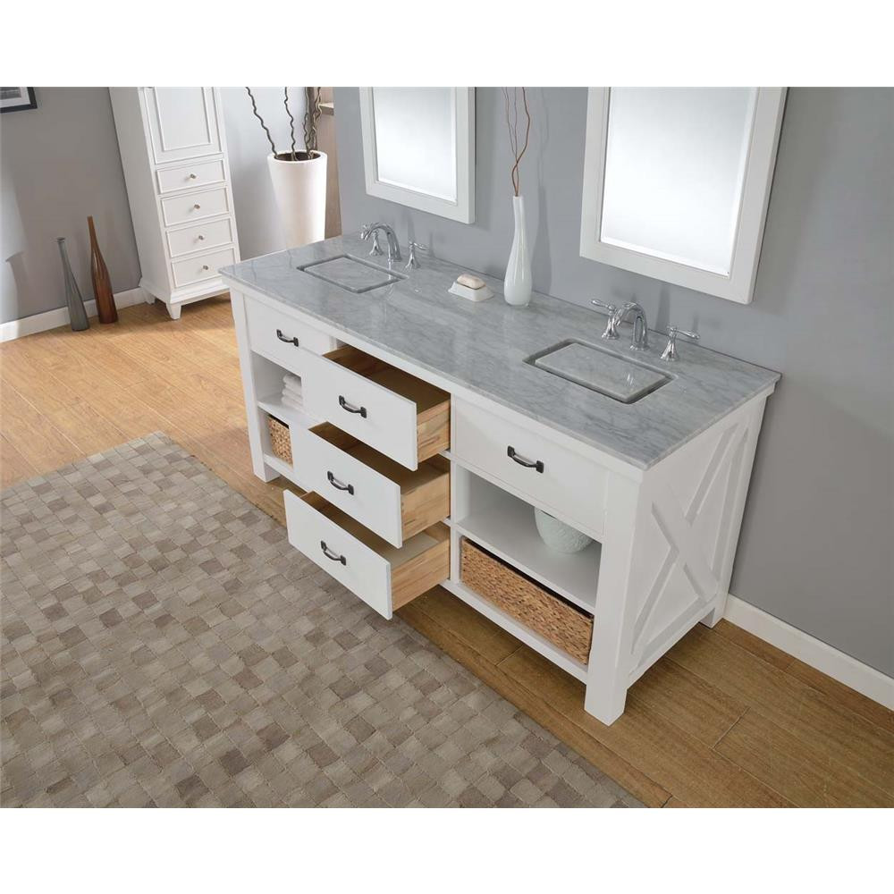 "Direct Vanity Sink 70D1-WB Xtraordinary Spa 70"" White Vanity With Beige Marble Top"