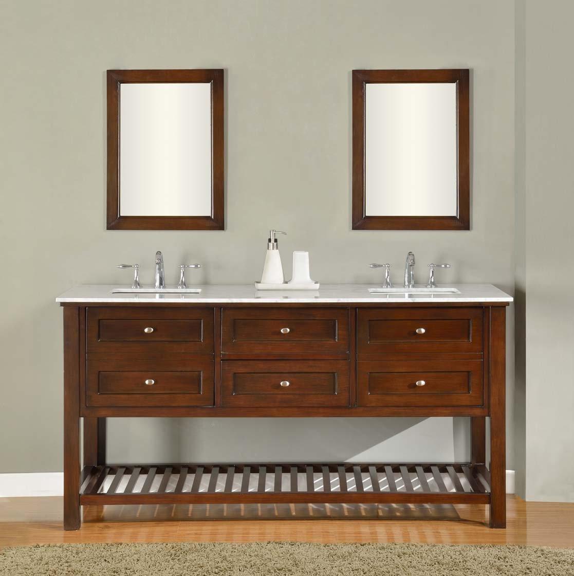 """Direct Vanity Sink 70D6-ES Mission Spa 70"""" Dark Brown Vanity"""