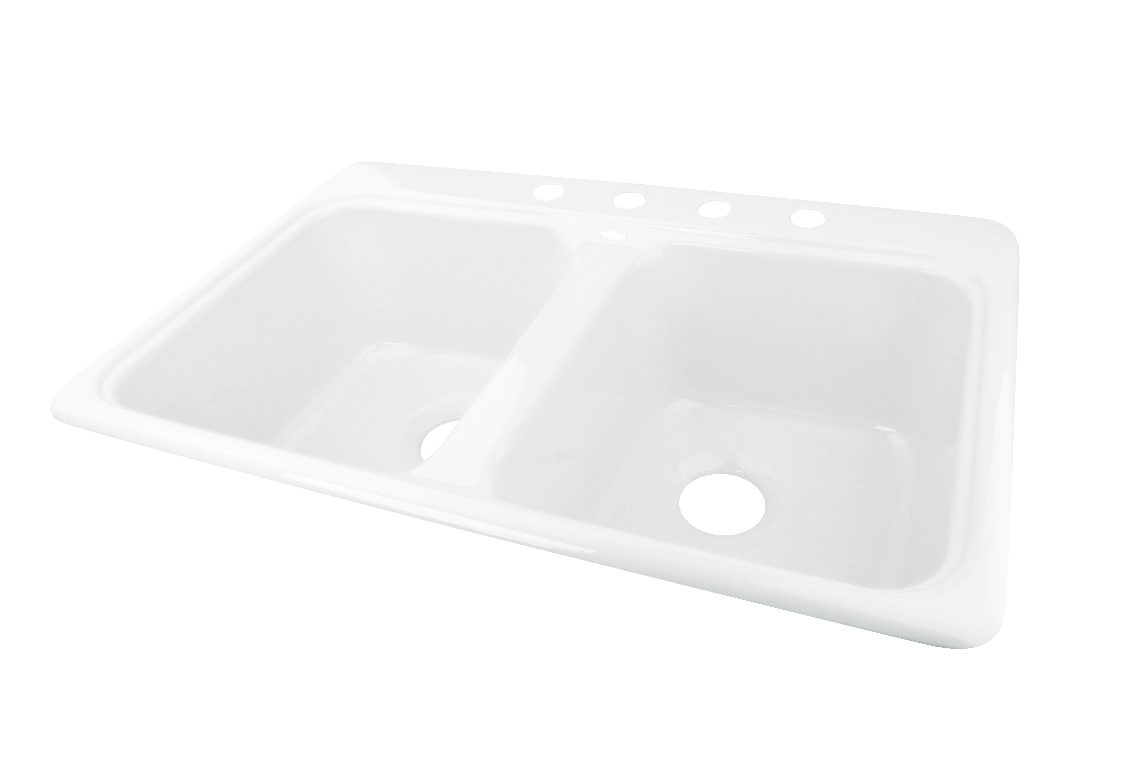 CECO 745-4 Extra Deep 33'' x 22'' Self-Rimming Heavy Cast Iron Kitchen Sink