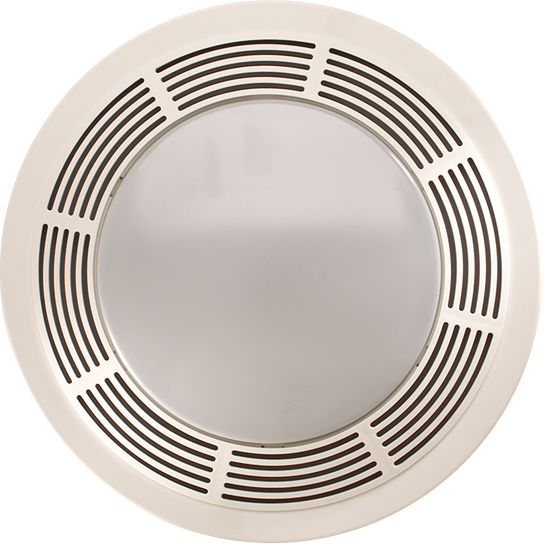 Broan 750 Fan/Light/Night-Light Round White Plastic Grille With Glass Lens