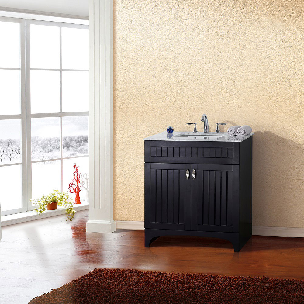 Bellaterra Home 7615-ES-WH 32-Inch Single Sink Vanity In Espresso