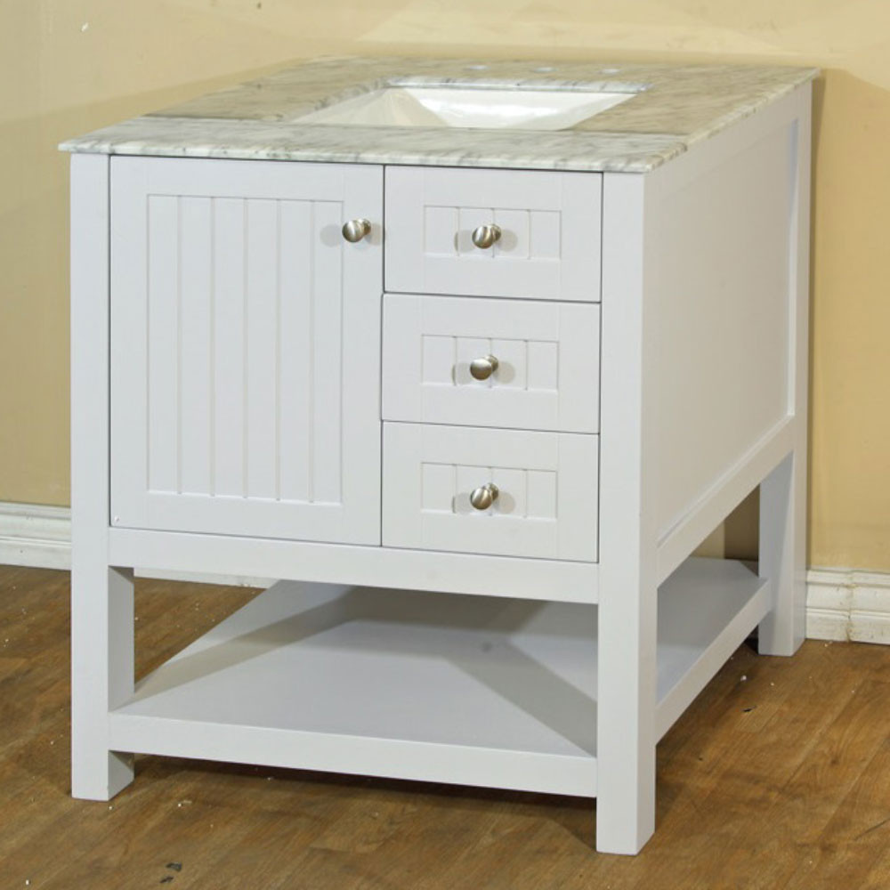 Bellaterra Home 7616-WH-WH 30-In Single Sink Vanity In White