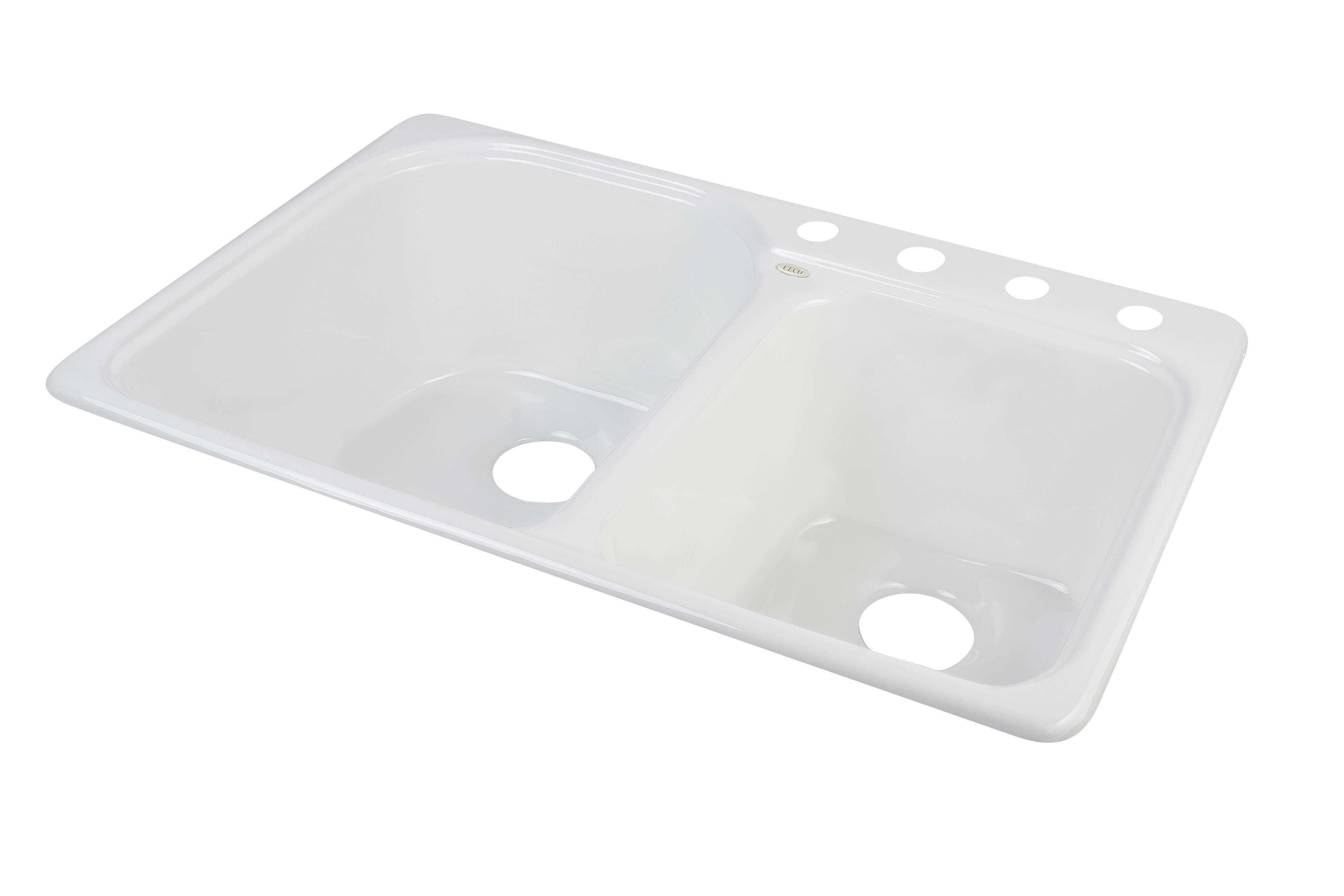 CECO 767-4 Extra Deep 33'' x 22'' Self-Rimming Heavy Cast Iron Kitchen Sink