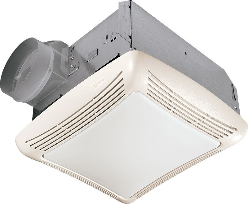 Broan 769RL Decorative Ceiling Exhaust Fan with Light Bulb In White Grille