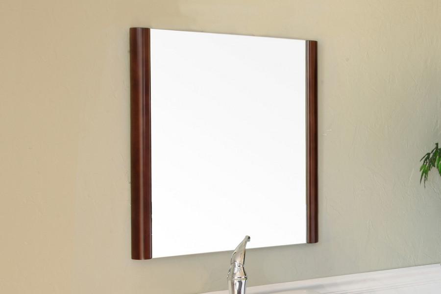 "Bellaterra Home 804338-MIRROR 21.7"" Wood Frame Round Mirror Ebony Zebra Finish"
