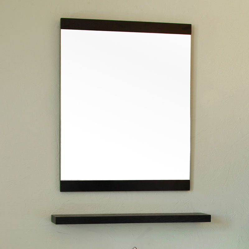 Bellaterra Home 804353 23.6 Inch Wood Frame Mirror With Open Shelf