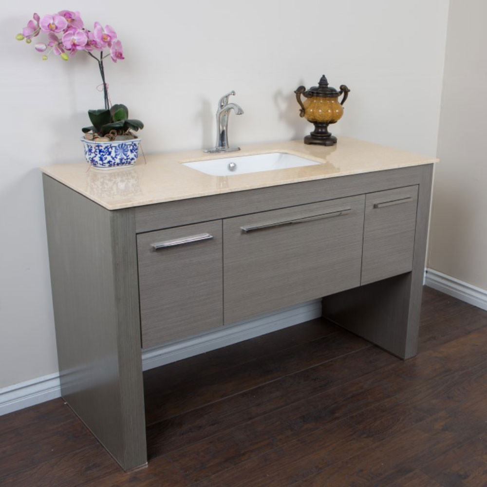 Bellaterra Home 804380-R-GY-CR Single Sink Gray With Cream Marble Top