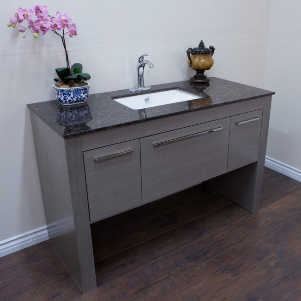 Bellaterra Home 804380-R-GY-TB Single Sink Vanity Gray With Tan Brown Top