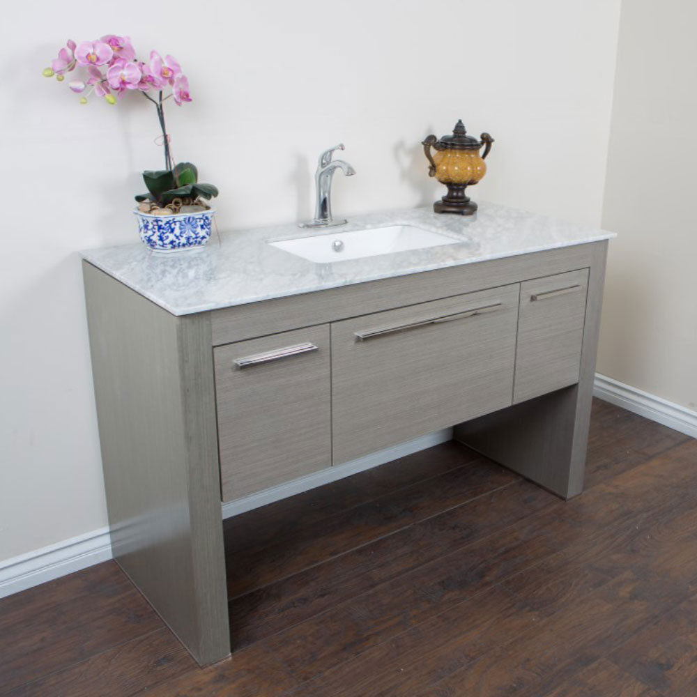 Bellaterra Home 804380-R-GY-WH Single Sink Vanity With White Marble Top