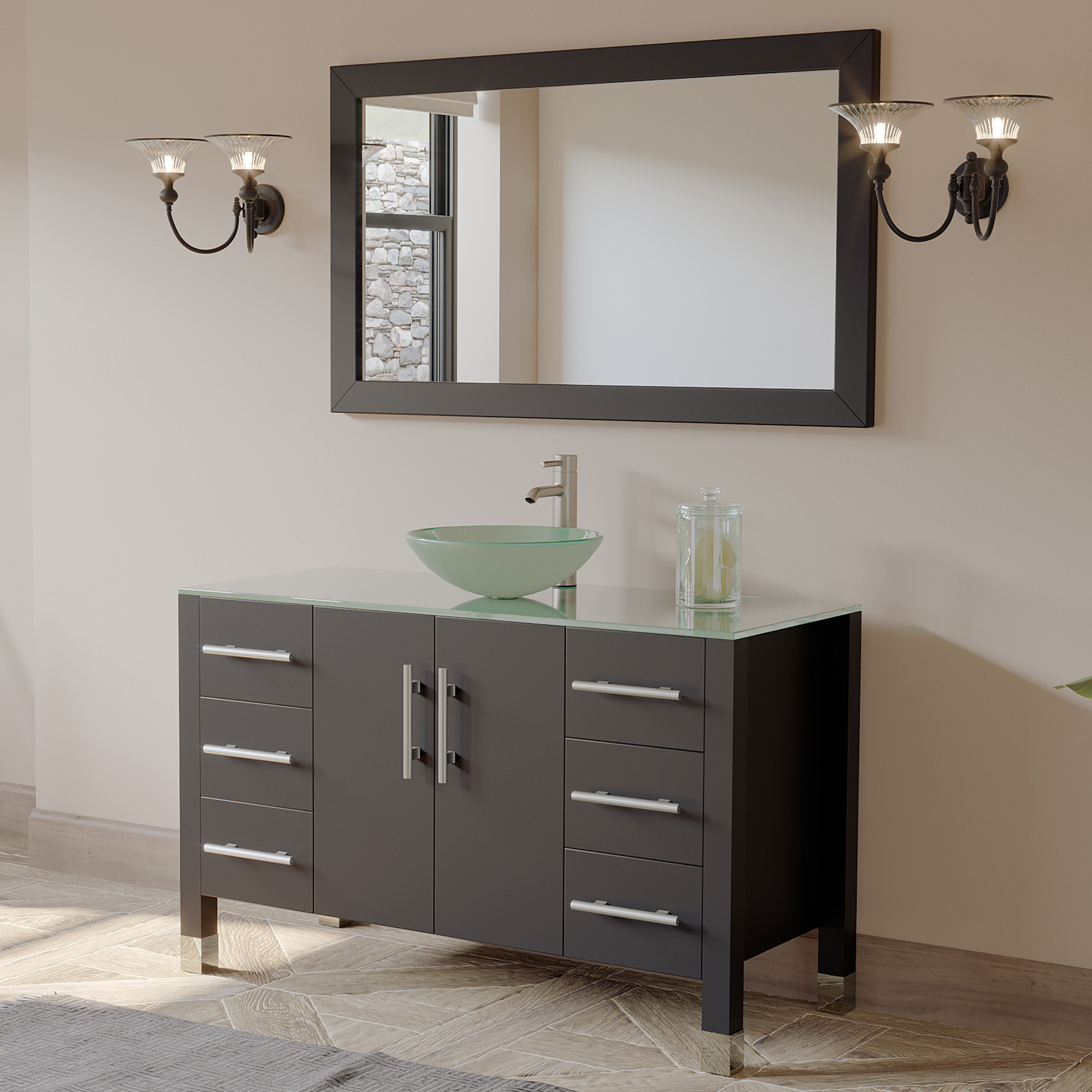 Cambridge 8116B-BN 48 Inch Solid Wood Vanity Set With Glass Vessel Sink
