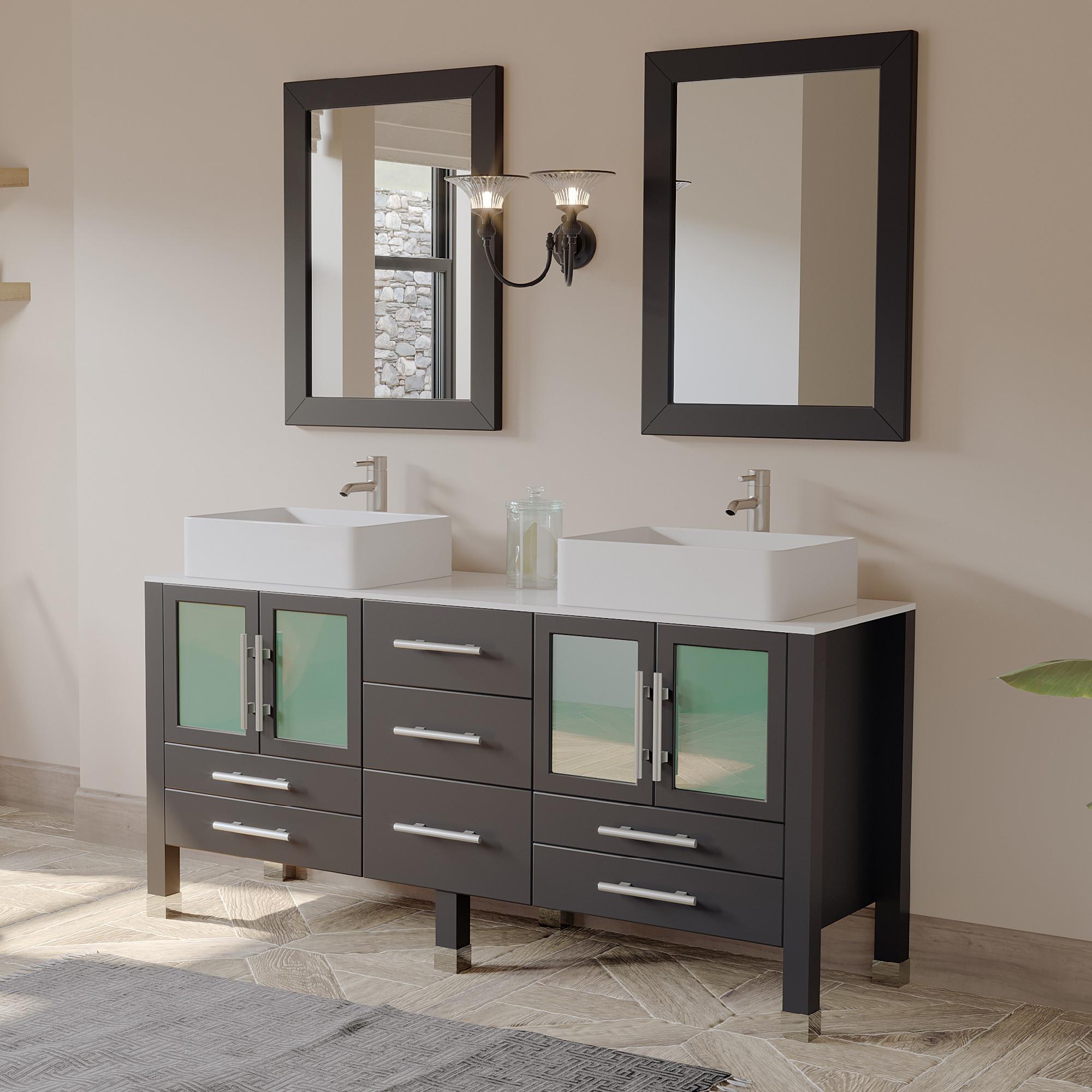 Cambridge 8119-BN 63 Inch Espresso Wood Vanity Set With Two Vessel Sinks