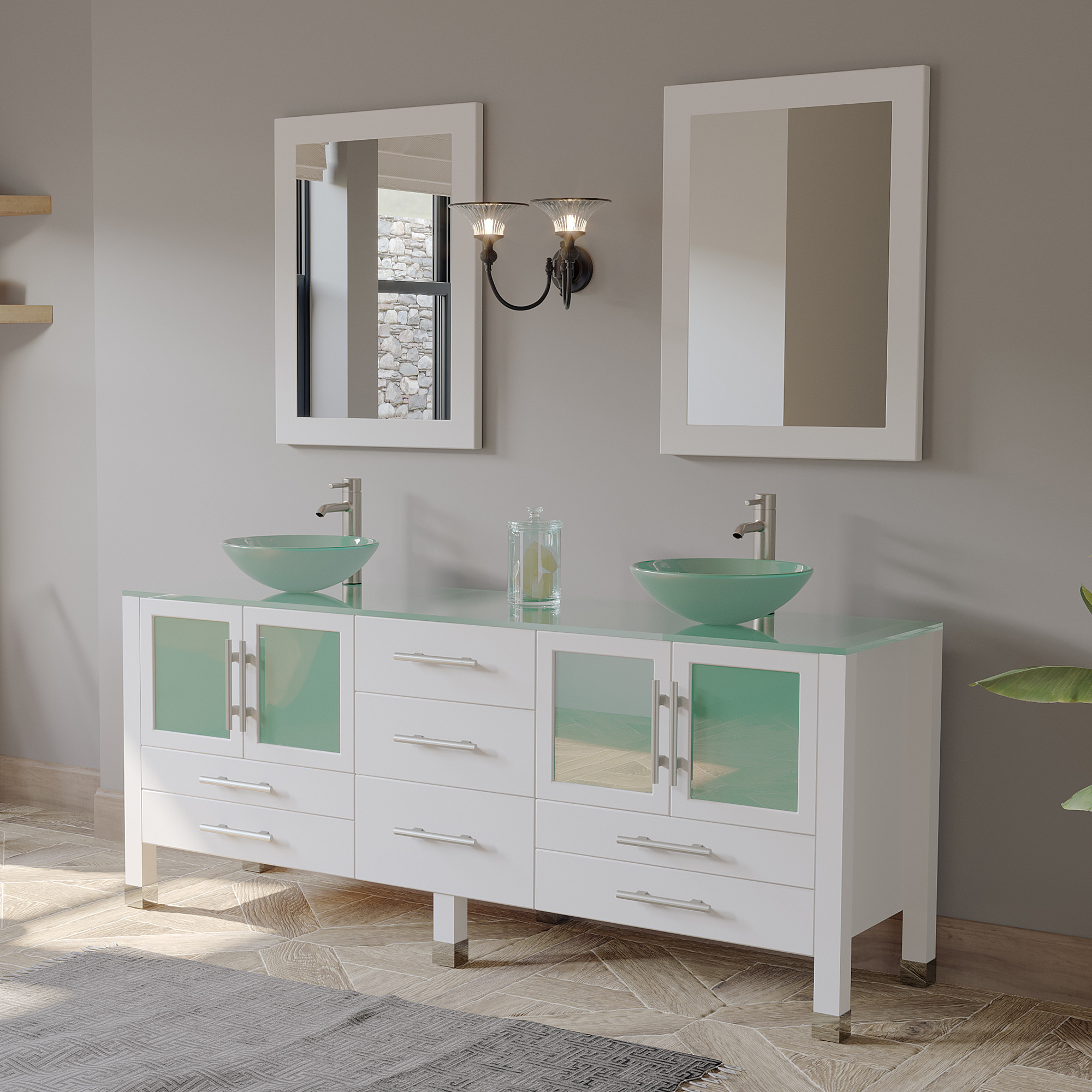 Cambridge 8119bxlw-BN 71 Inch Vanity Set with Frosted Glass Vessel Sinks