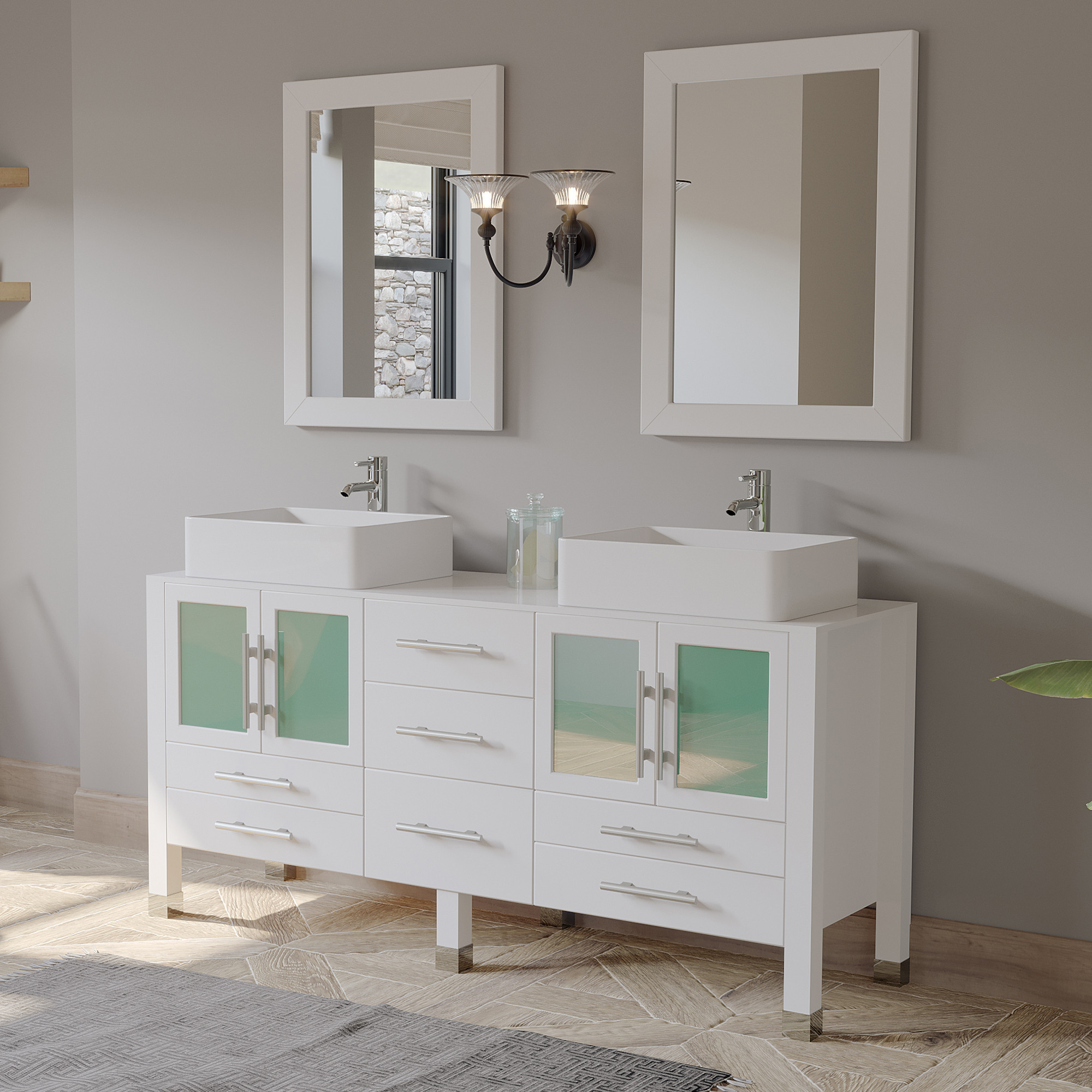 Cambridge 8119w 63 Inch White Solid Wood Double Vanity With Ceramic Top