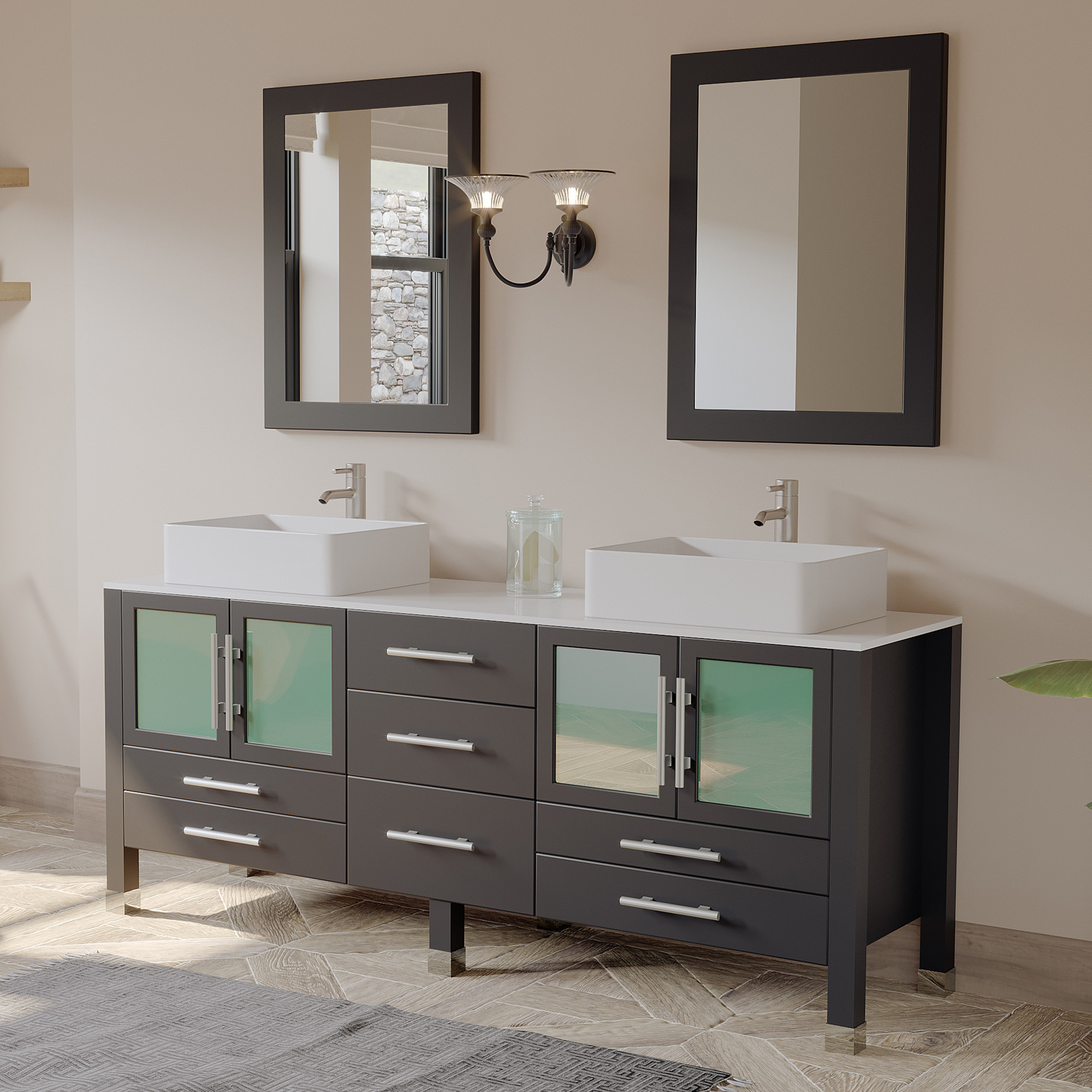 Cambridge 8119xl-BN 71 Inch Wood Double Vanity Set With White Porcelain Top