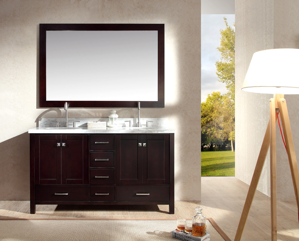 Ariel A061D-ESP Cambridge 61 Inch Double Sink Vanity Set in Espresso