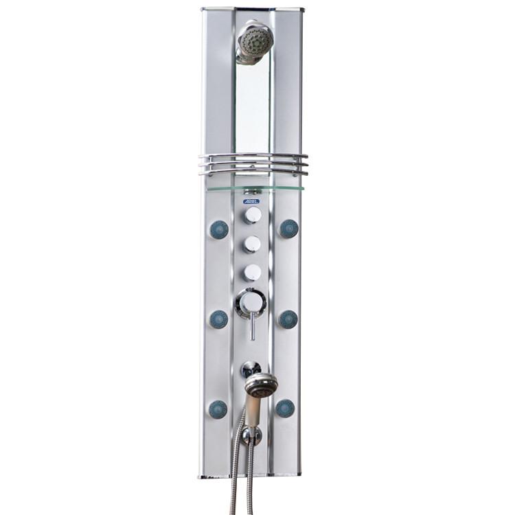 Ariel A112-A801-II Aluminum Shower Panel W/ 6 Massage Jets & Hand Held Shower Head