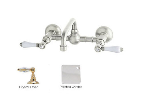 Rohl A1423LCAPC-2 Vocca Wall Mounted Bridge Bathroom Faucet With Crystal Handle